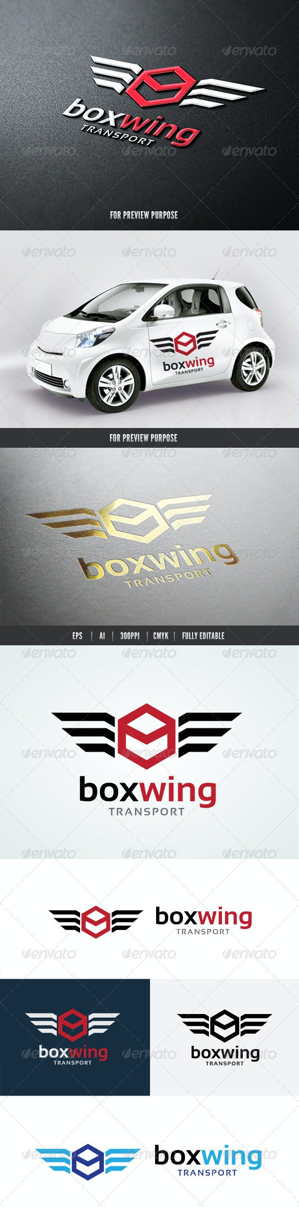 Box Wing Transport  - Objects Logo Templates