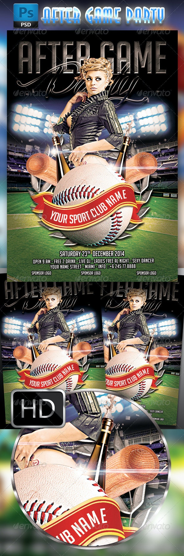 After Game Party Flyer Template - Baseball - Clubs & Parties Events