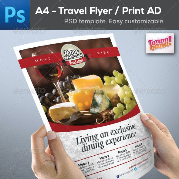 A4 Restaurant Flyer / Print AD layout