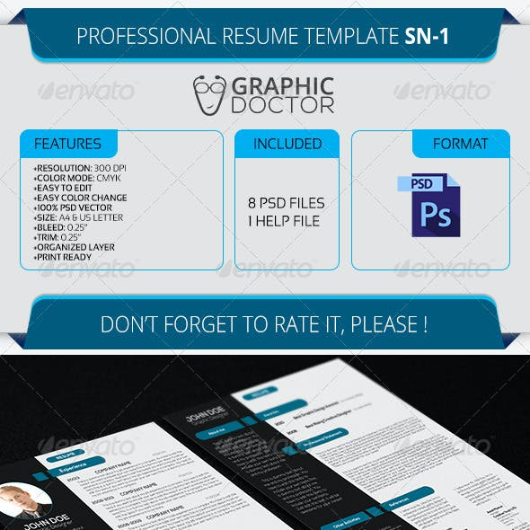 Professional Resume Template SN-1