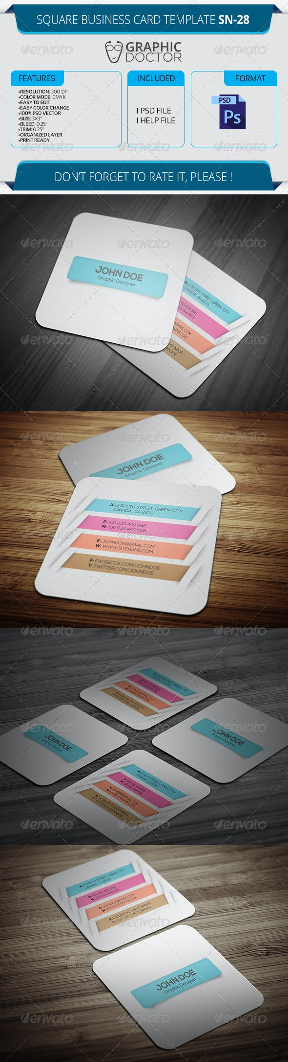 Square Business Card Template SN-28 - Creative Business Cards