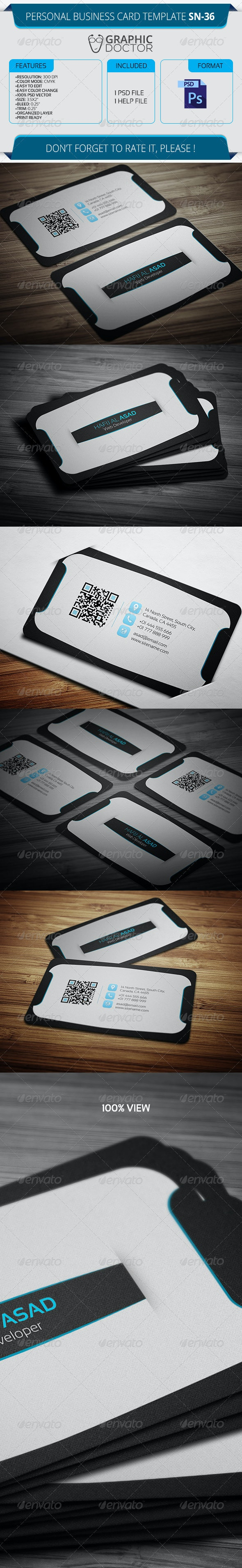Personal Business Card Template SN-36 - Corporate Business Cards