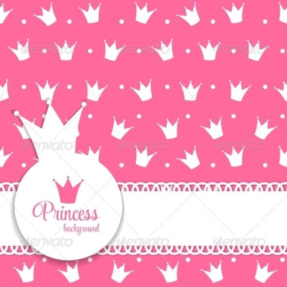 Princess Crown Background Vector Illustration - Birthdays Seasons/Holidays