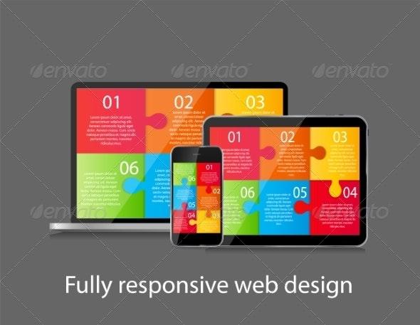 Fully Responsive Web Design Concept Vector - Web Technology