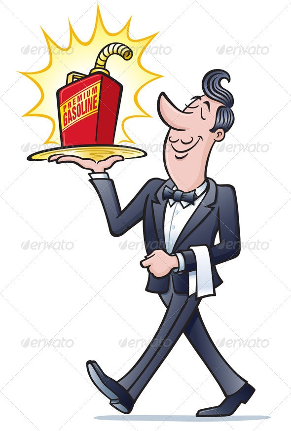 Waiter Walking with a Gas Can - Concepts Business