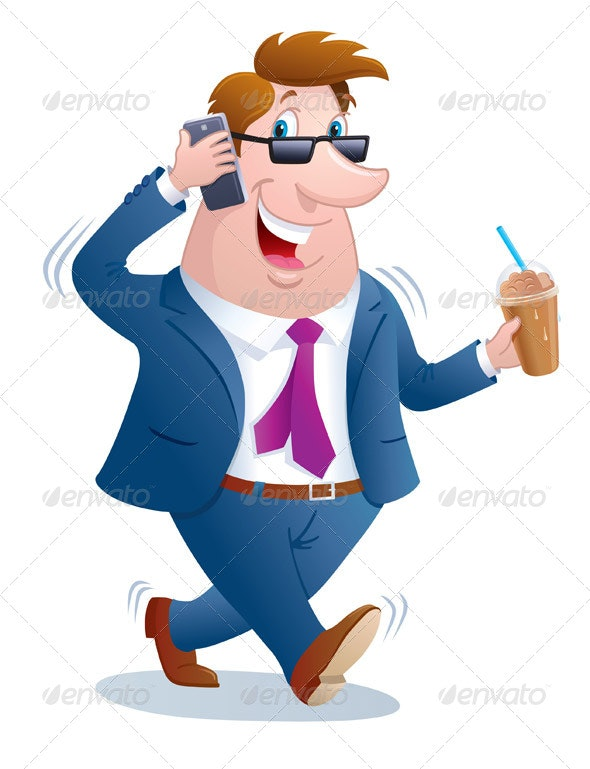 Business Man Walking And Talking On Phone - Communications Technology