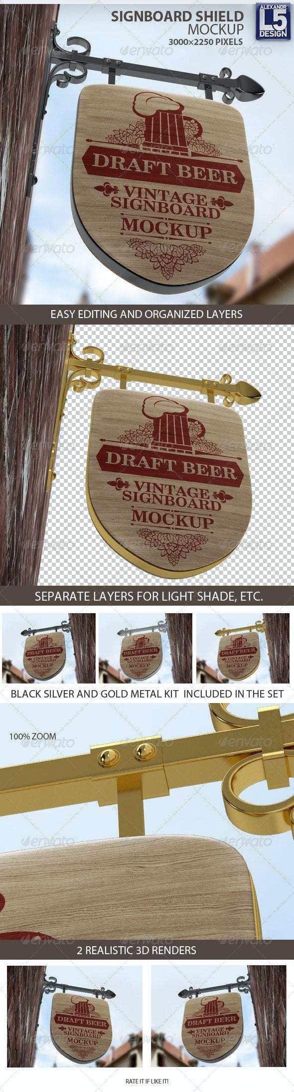 Vintage Signboard Shield Mock-Up - Product Mock-Ups Graphics