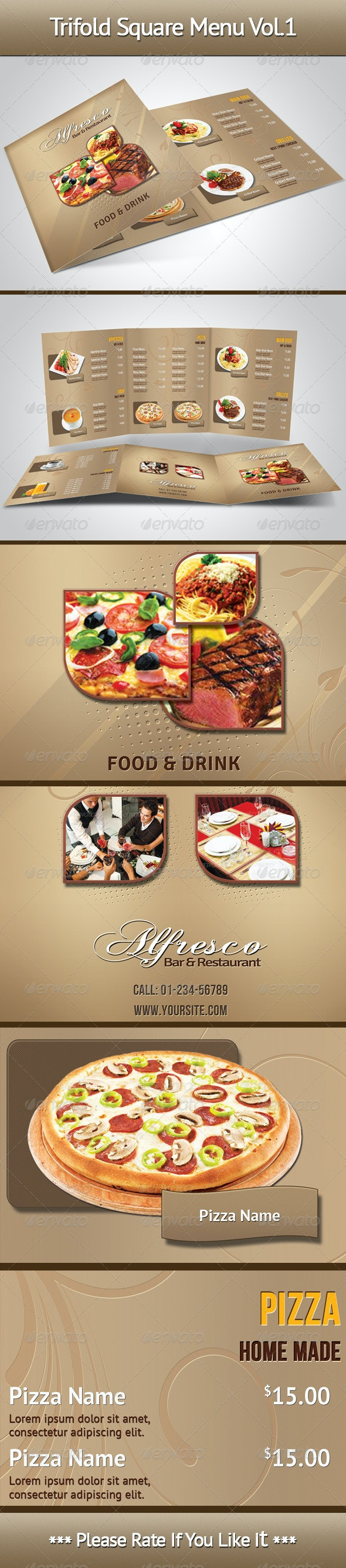 Trifold Square Menu Vol.1 - Food Menus Print Templates