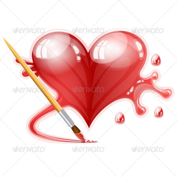 Heart Painted with a Brush - Decorative Symbols Decorative