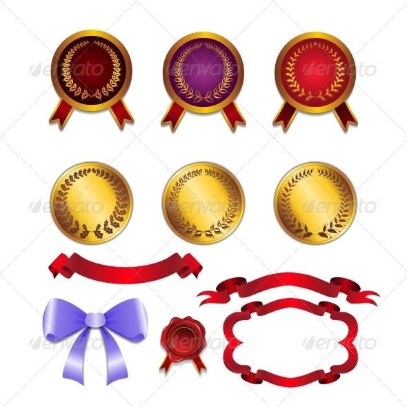 Set for Design Ribbons and Medals - Backgrounds Decorative