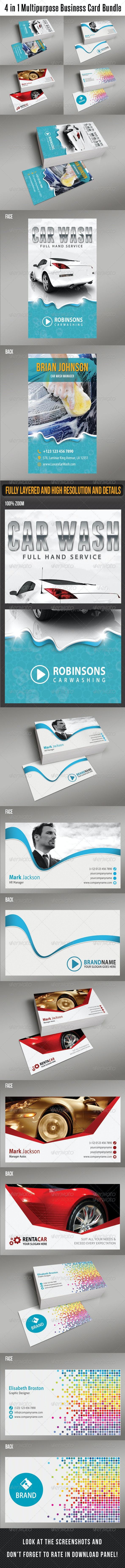 4 in 1 Multipurpose Business Card Bundle 03 - Creative Business Cards