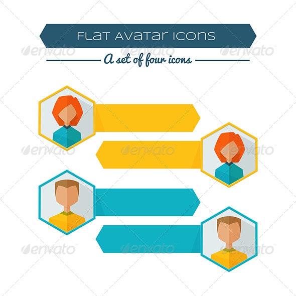 Flat Avatar Banners - Web Elements Vectors