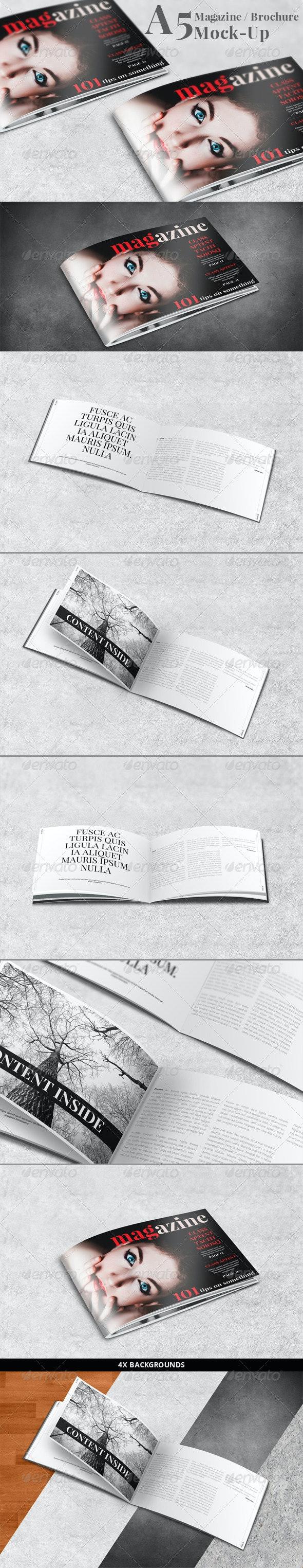 A5 Landscape Brochure / Magazine Mock-Up - Brochures Print