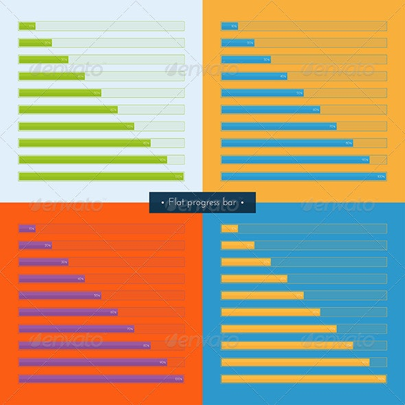Set Flat Progress Bar - Web Elements Vectors
