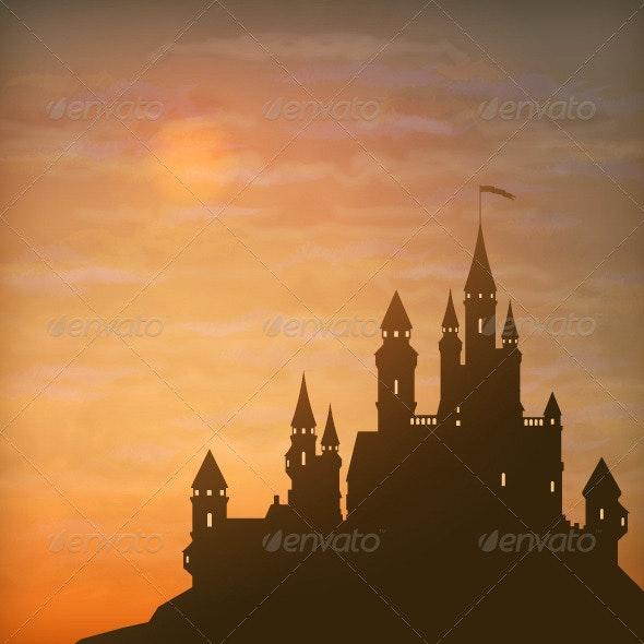 Fantasy Vector Castle Moonlight Sky  - Buildings Objects