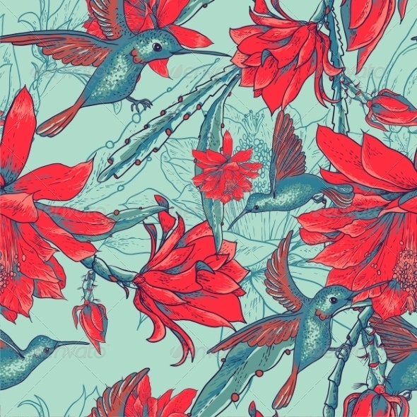 Seamless Background Flowers and Hummingbirds - Patterns Decorative