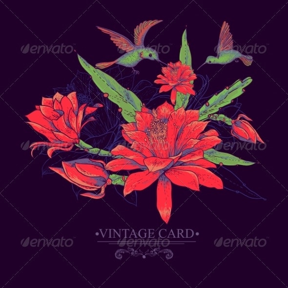 Vintage Card with Red Flowers and Hummingbirds - Patterns Decorative