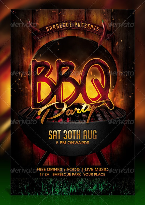 BBQ / Barbecue Party Flyer Template - Clubs & Parties Events
