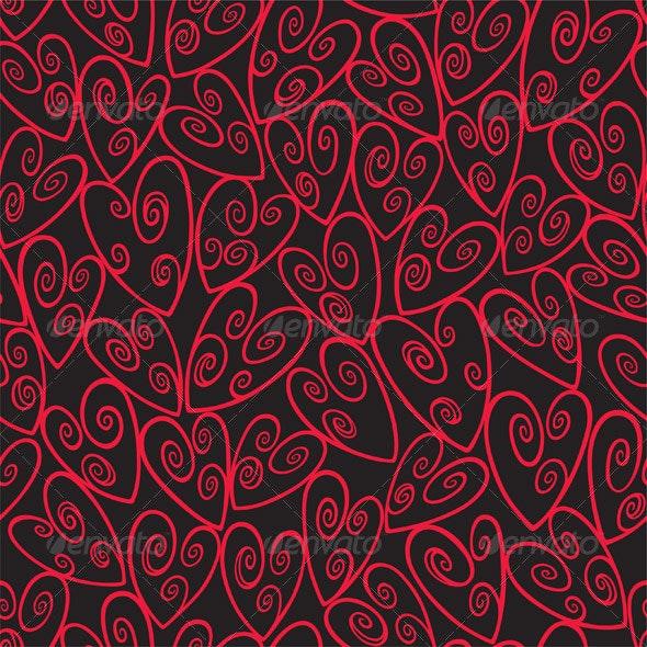 Seamless Loop Heart Pattern In Red - Valentines Seasons/Holidays