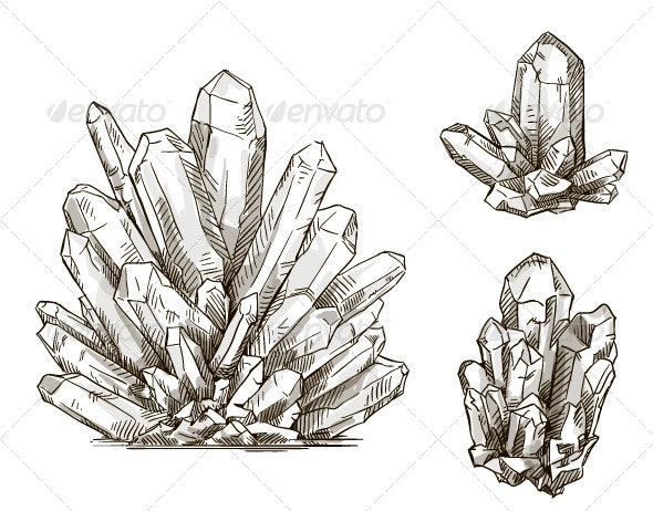 Set of Crystals Drawings - Objects Vectors