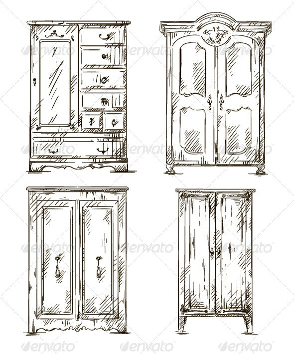 Set of Hand Drawn Wardrobes Interior Elements - Man-made Objects Objects