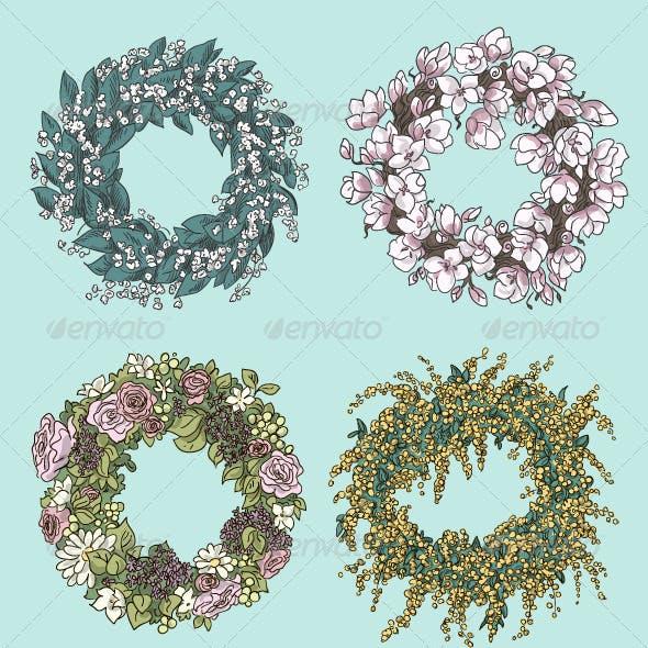 Set of Stylish Wreath Drawings