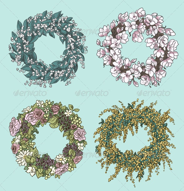 Set of Stylish Wreath Drawings - Flowers & Plants Nature