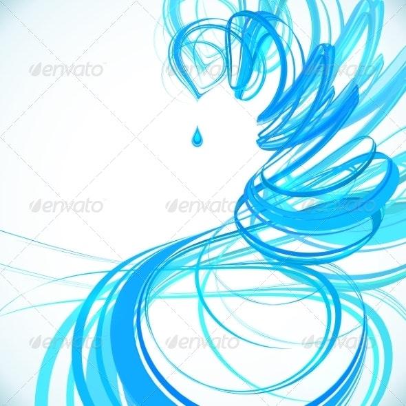 Blue Abstract Spiral Background - Flourishes / Swirls Decorative