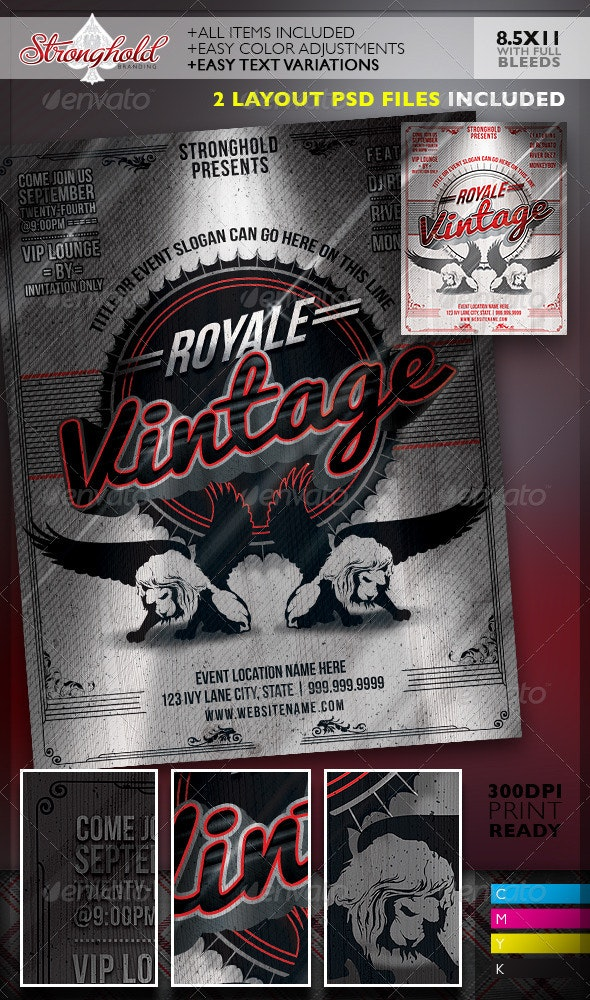 Vintage Royale Lion Crest Event Flyer Template - Events Flyers