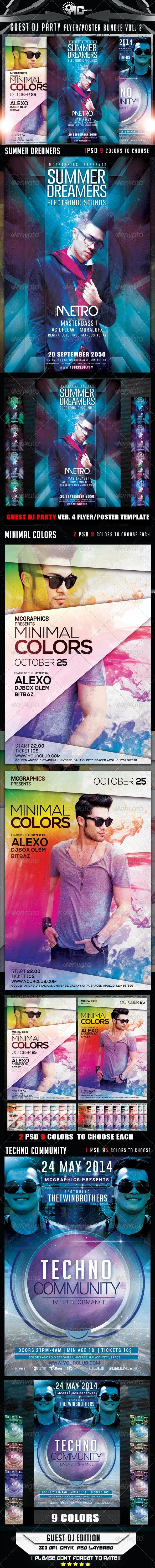 Guest DJ Party Flyer/Poster Bundle Vol.2 - Flyers Print Templates