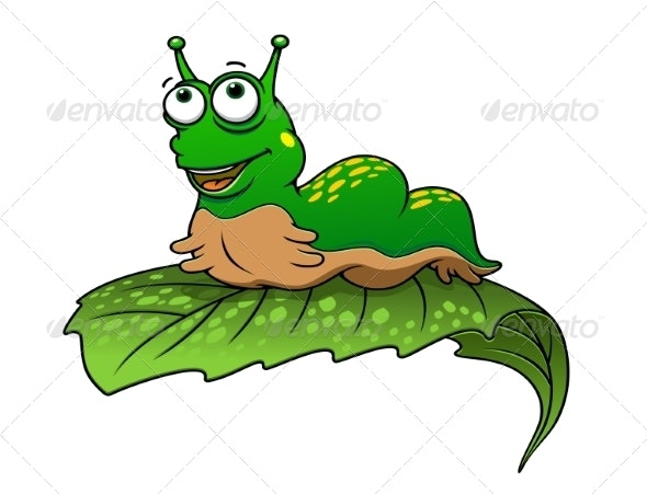 Green Cartoon Caterpillar Insect - Animals Characters