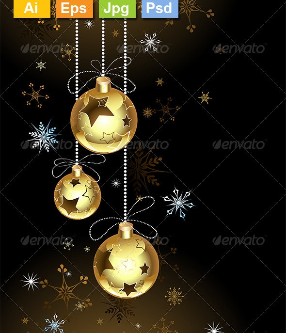 Gold Christmas Baubles - Christmas Seasons/Holidays