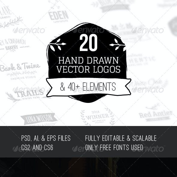 Hand Drawn Vector Logos & Elements