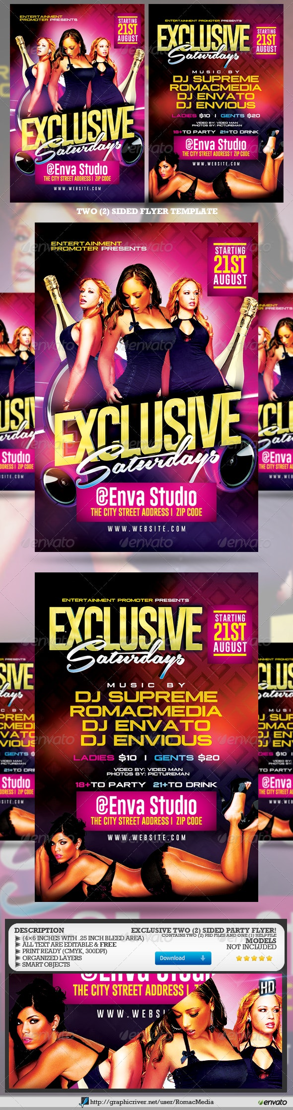 Two Sided Exclusive Club Party Flyer - Clubs & Parties Events