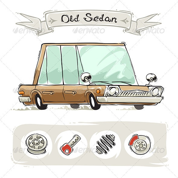 Old Cartoon Sedan Set - Man-made Objects Objects