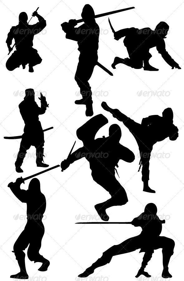 Ninja Silhouettes - Characters Vectors