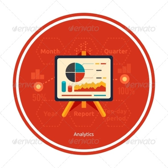 Stand with Charts and Parameters of Analytics - Concepts Business