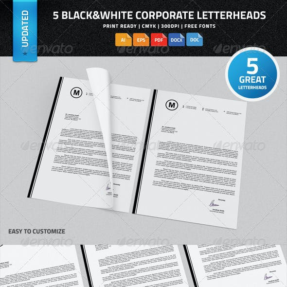 5 Black & White Corporate Letterheads with MS Word