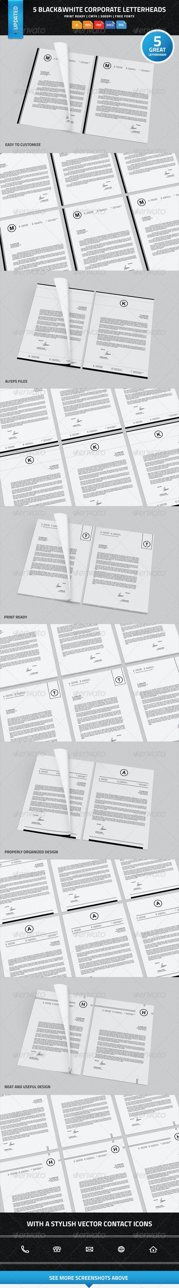 5 Black & White Corporate Letterheads with MS Word - Stationery Print Templates