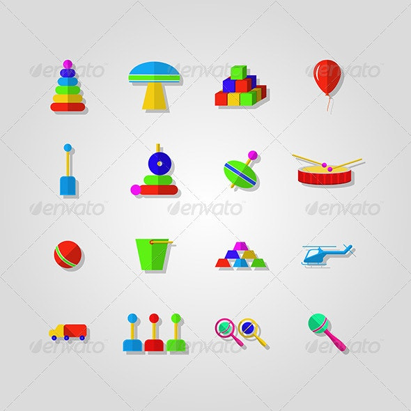 Children Toys Icons - Web Elements Vectors