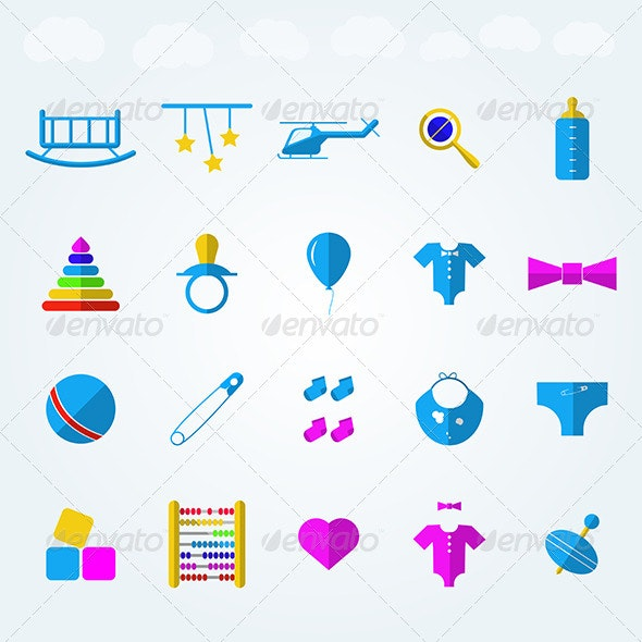 Children Toys Flat Icons  - Web Elements Vectors