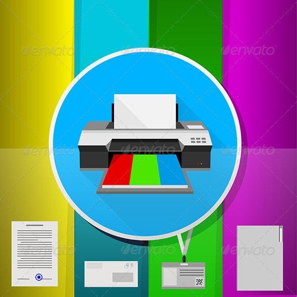 Office Flat Illustration - Computers Technology