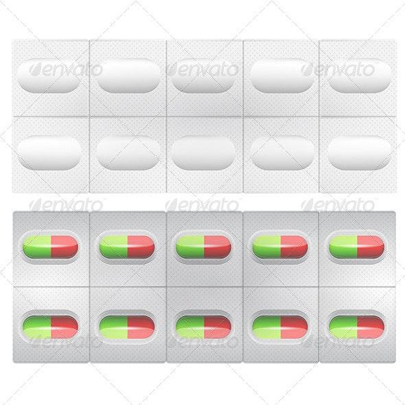 Illustration of Pills - Health/Medicine Conceptual
