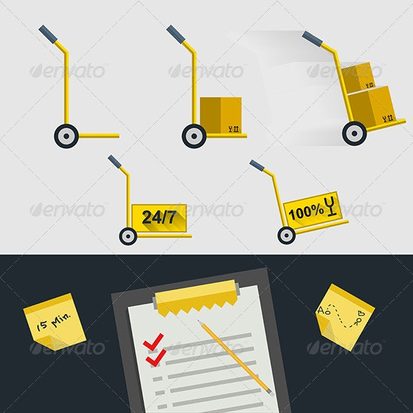 Flat Icons for Delivery of Goods - Services Commercial / Shopping