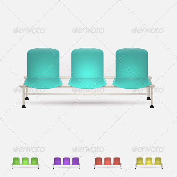 Illustration of Colored Waiting Benches - Man-made Objects Objects