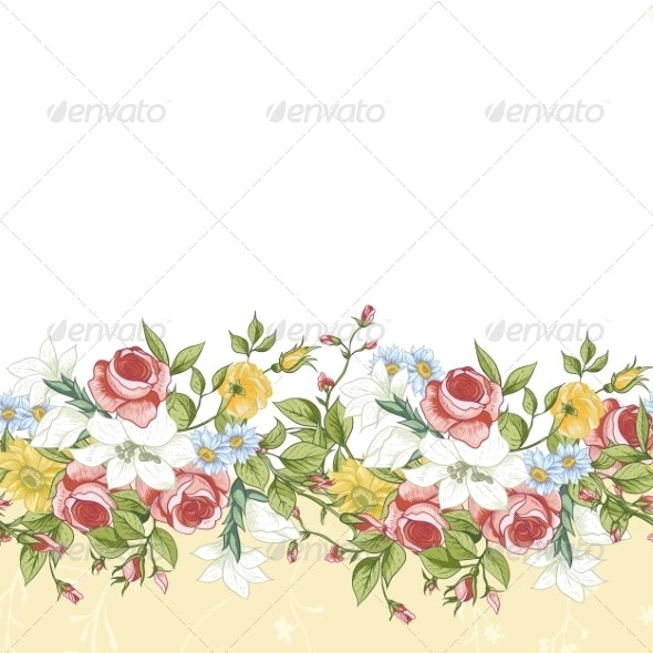 Seamless Floral Border - Patterns Decorative