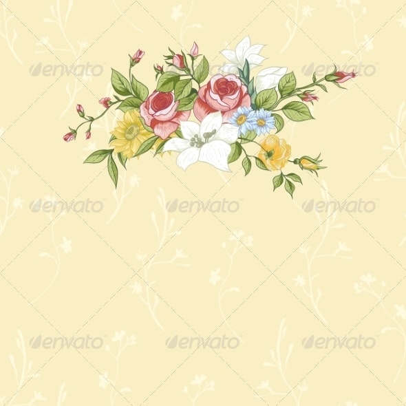 Vintage Greeting Card with Flowers - Patterns Decorative