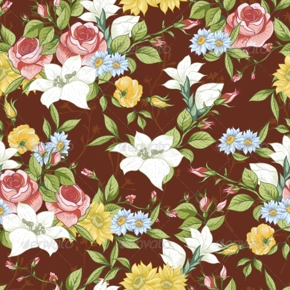 Seamless Pattern with Vintage Wildflowers - Patterns Decorative