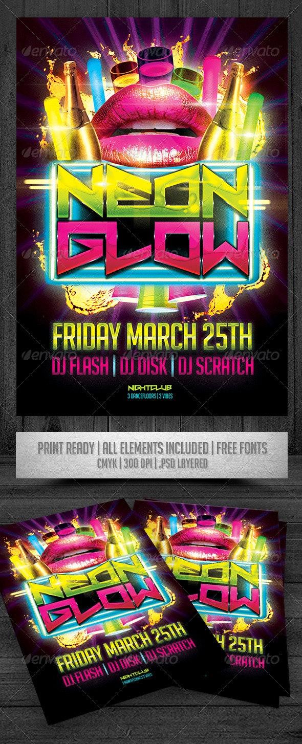 Neon Glow Flyer - Events Flyers