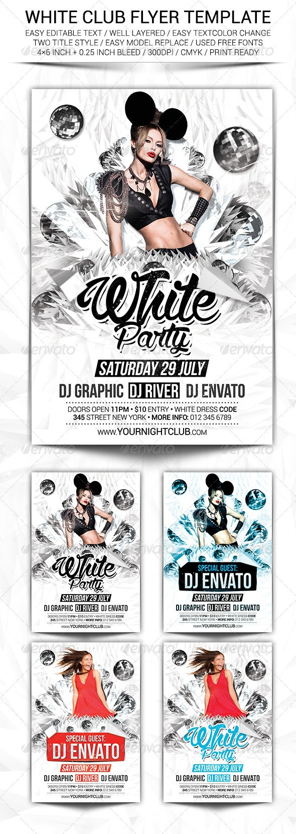 White Club Flyer Template - Clubs & Parties Events